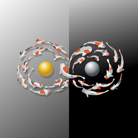 figure of eight: Koi fish are swimming around in the sphere of gold and silver in a figure eight. Referring to the infinity of the rich.