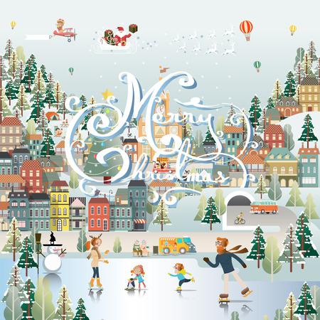 Snow Village Landscape Day scene wallpaper