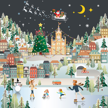 winter holiday: Snow Village Landscape night scene wallpaper, santa claus is coming to town Illustration