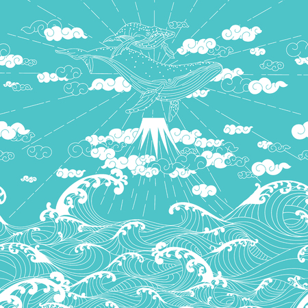 Hand drawn fantasy seamless doodle Japanese style, whale floating in the sky above the mountains to the ocean Illustration