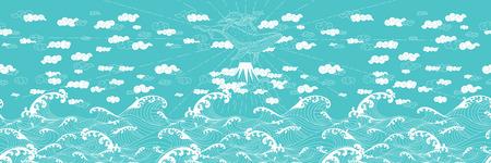 手描きのファンタジーのシームレスな落書き和風、クジラの母および子牛。海に山の上空に浮かんでいます。