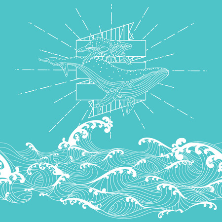 Hand drawn fantasy seamless doodle style, whale mother and calf floating in the sky above the ocean