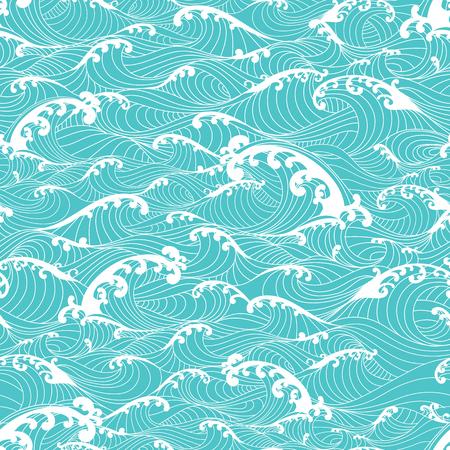 Fale oceanu, wzór bezszwowe tło wyciągnąć rękę azjatyckiego stylu Ilustracje wektorowe