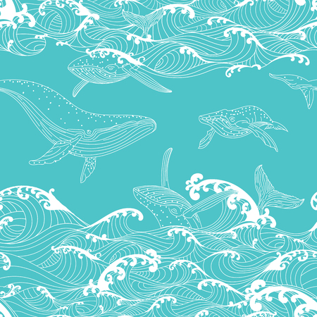 Whale family swimming in the ocean waves, pattern seamless  background hand drawn Asian style Vettoriali