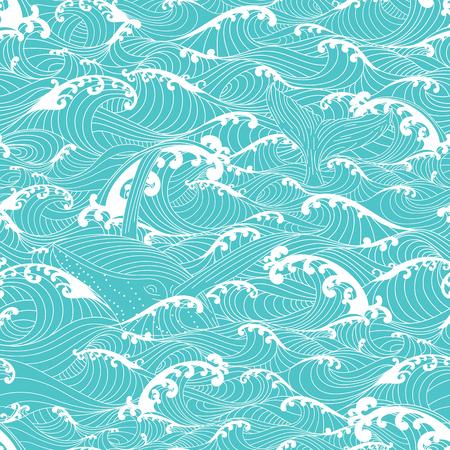 Walvis zwemmen in de oceaan golven, getekende patroon naadloze achtergrond met de hand Aziatische stijl