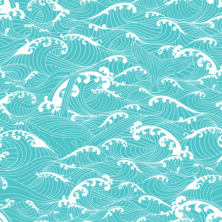 Whale swimming in the ocean waves, pattern seamless background hand drawn Asian style