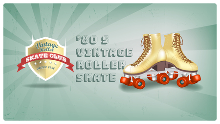 Roller Skate Vintage Club since 1980, Poster design Vector illustration