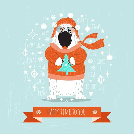Christmas background Cute Polar bear. Design vector illustration