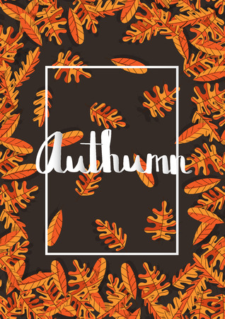 dry flowers: Flowers poster template autumn typography with dry leaf seamless pattern