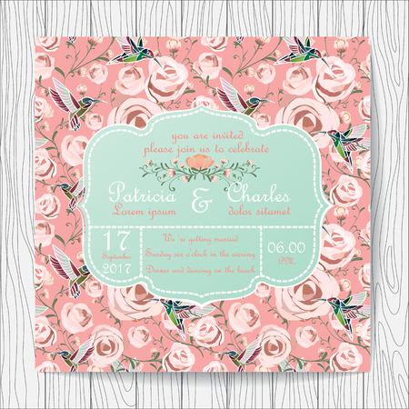vintage card: Wedding invitation card with pink rose flower and hummingbird Templates vintage sweet style