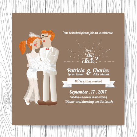 bride bouquet: Wedding invitation card  templates, Cartoon Character Bride holding a bouquet of flowers blossom on brown background