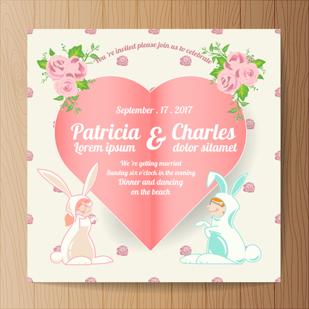 Wedding invitation card  templates, Cartoon character rabbit bride with paper heart Illustration