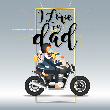 Father's day, Dad riding a motorcycle with his son and daughter