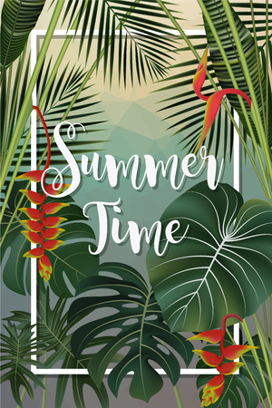 Summer season poster design. Lost in Paradise writing on a tropical leaf background