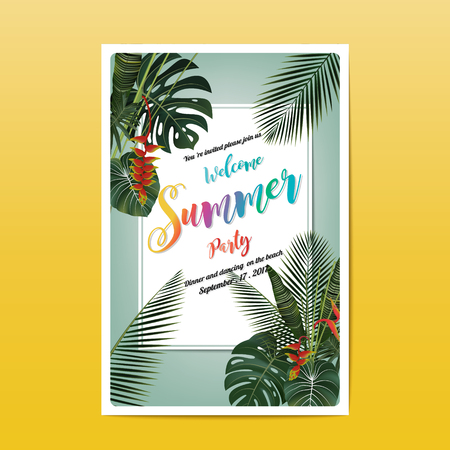 Summer party invitation card design. Writing and a tropical leaf on blue background Illustration