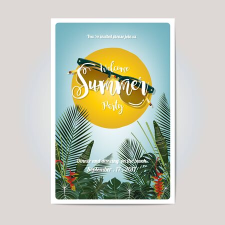Summer party invitation card design. Golden writing on a tropical leaf background Stock Vector - 80839153