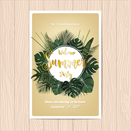 Summer party invitation card design. Golden writing on a tropical leaf background