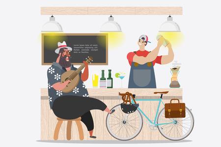 Cartoon character design. Fat guy good mood singing and play ukulele at Bar front in the summer season
