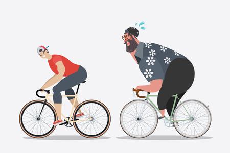 만화 캐릭터 디자인입니다. 뚱뚱한 남자들이 사이클링을하는 슬림 한 남자. 일러스트