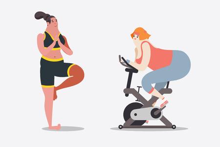 만화 캐릭터 디자인 일러스트 레이 션. 두 여자 운동 요가와 자전거 체육관에서. 일러스트