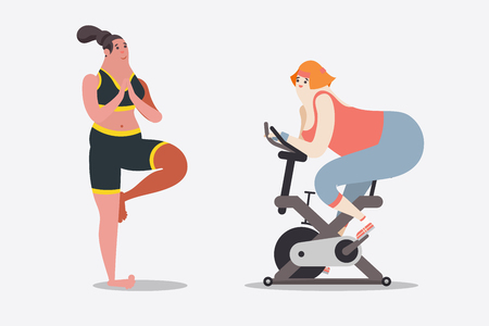 Cartoon character design illustration. Two women workout with yoga and bicycle in the gym. Ilustração