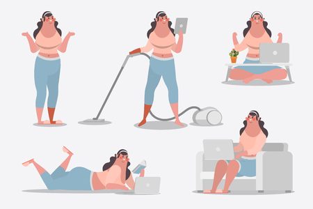 Cartoon character design illustration. Young girl showing posture cleaning house use computer and read books Ilustração