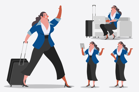 Cartoon character design illustration. Businesswoman showing Handle luggage, greetings, and computer laptops. Ilustração