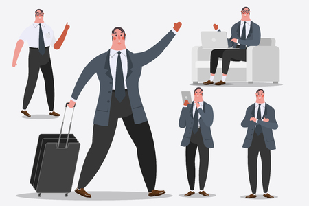 Cartoon character design illustration. Businessman showing Handle luggage, greetings, and computer laptops. Illustration