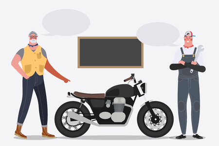 Cartoon character design illustration. Biker riding a motorcycle into the garage.