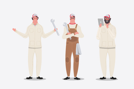 Cartoon character design illustration. Mechanic showing greetings, and  used tablet Illustration