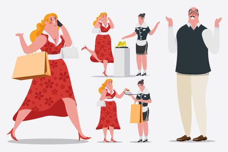 Cartoon karakter ontwerp illustratie. Vrouwen lopen en bellen naar mobiele telefoons Het dragen van boodschappentassen loopt de winkel binnen. Ze gebruikt een creditcard. Vector Illustratie