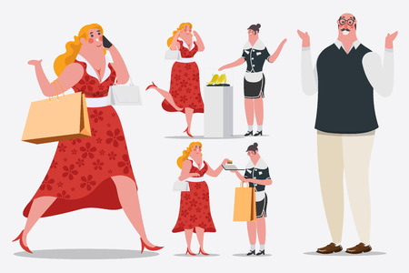 Cartoon character design illustration. Women walk and calling mobile phones Carrying shopping bags are walking into the shop. She uses a credit card. Illustration