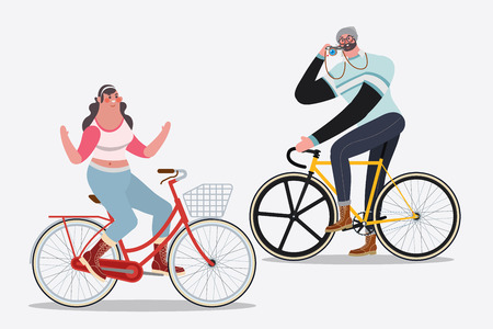Cartoon character design illustration. Men riding bikes taking pictures Woman riding a bike no hand