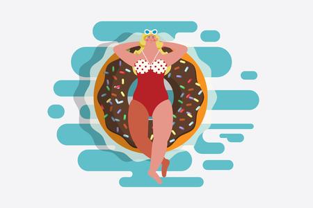 Illustrazione di disegno del personaggio dei cartoni animati. Ragazza di vista superiore in costume da bagno Sdraiato su un anello di gomma a forma di ciambella. Galleggiante in piscina Archivio Fotografico - 85400407