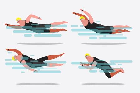 Illustration de dessin animé personnage design. Montrer diverses postures de natation. Vecteurs