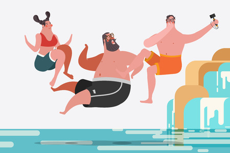Cartoon character design illustration. Teenage boys and girls jumping waterfalls 向量圖像