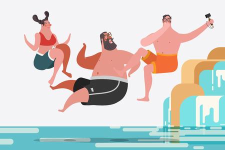 Cartoon character design illustration. Teenage boys and girls jumping waterfalls Illustration