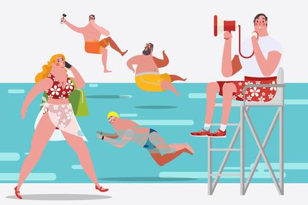 漫画キャラ デザイン イラスト。スイミング プールの人々
