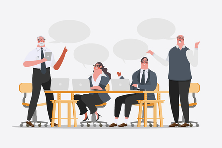 communication cartoon: Cartoon character design illustration. Business Team conference exchange ideas