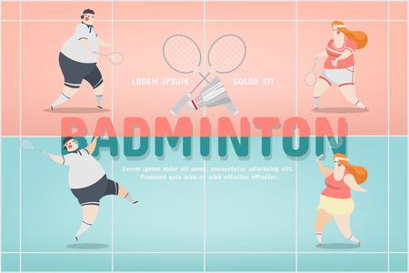 Badminton Sport Character Design vector illustration.