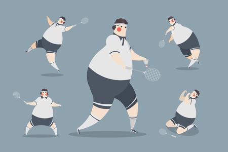 Badminton Men Character Design vector illustration.