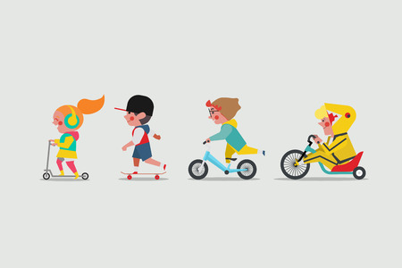 Kids playing outside. Girl playing scooter. Boys playing skateboard. Boy riding balance bicycle and Fat boy riding a lowrider Drift Trike bike
