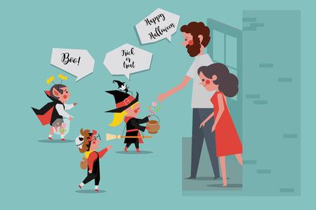 Halloween Party Kinder sagen Süßes oder Saures Vektor-Illustration Standard-Bild - 86206544