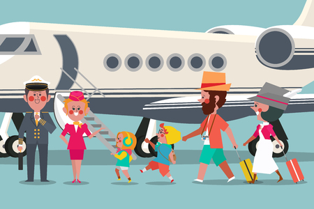 Pilot with flight attendant  and Traveler family Character design flat style 向量圖像