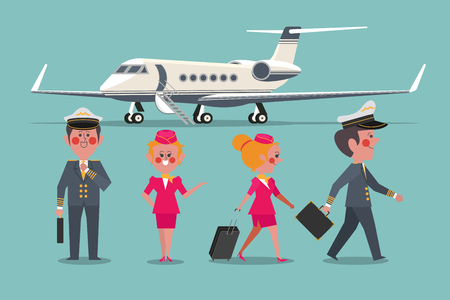 Pilot with Flight attendant aircraft personaled Character design flat style 向量圖像