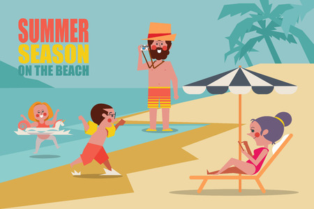 Summer season family on the beach Character people design flat style