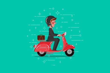 Cartoon Character design flat style. Businessman riding retro scooter vector illustration Ilustracja