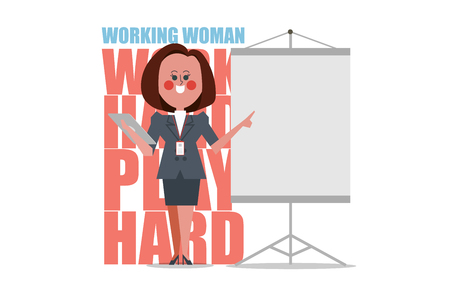 Character of Working Woman standing presentation. Business people design flat style