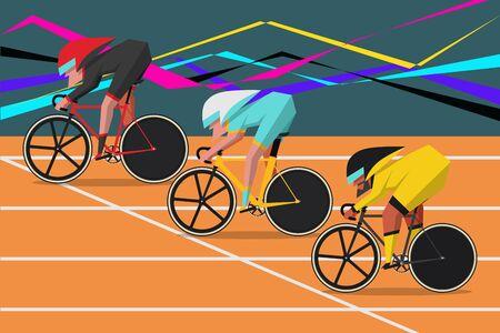 自転車レース漫画キャラクター デザイン フラット スタイル  イラスト・ベクター素材