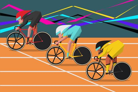 Bicycle Race Cartoon Character Design flat style